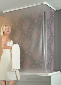 kassetten eck duschrollo 137 x 62 cm seerosen flieder. Black Bedroom Furniture Sets. Home Design Ideas