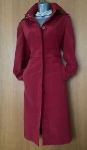 Karen-Millen-UK-10-Dark-Red-Maroon-Longline-Mac-Raincoat-Jacket-Trench-Coat-EU38