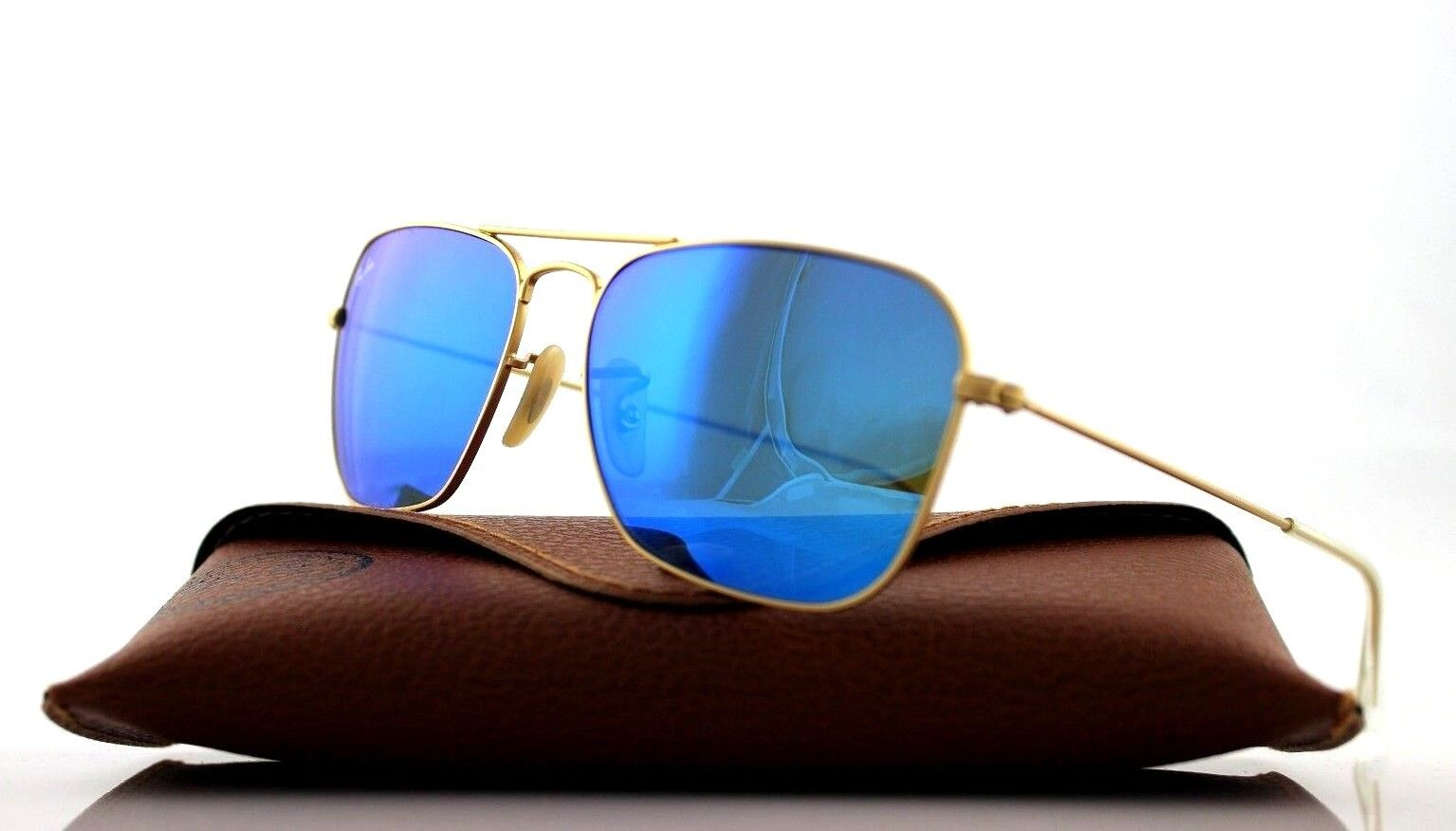 8a17ed3816f Sunglasses Ray-Ban Caravan Rb3136 112 17 55 Matte Gold Blue for sale ...