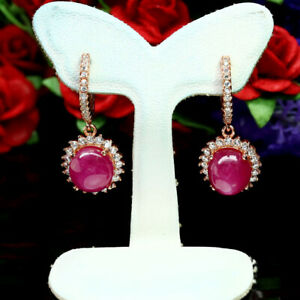 NATURAL-8-X-9-mm-RED-RUBY-amp-WHITE-CZ-EARRINGS-925-STERLING-SILVER