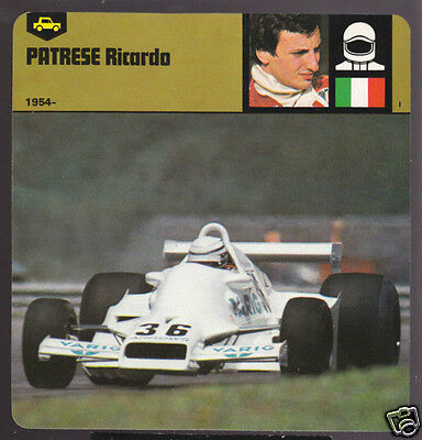 Special Section Ricardo Patrese Italian Car Racing Biography Card Arrow With The Most Up-To-Date Equipment And Techniques