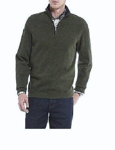 Nwt Daniel Cremieux Olive Reversible Suede Elbow 1 4 Zip Sweater