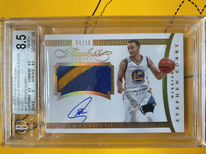 2014-15-Stephen-Curry-Panini-Flawless-Momentous-Gold-Patch-BGS-8-5-Auto-10-Wow