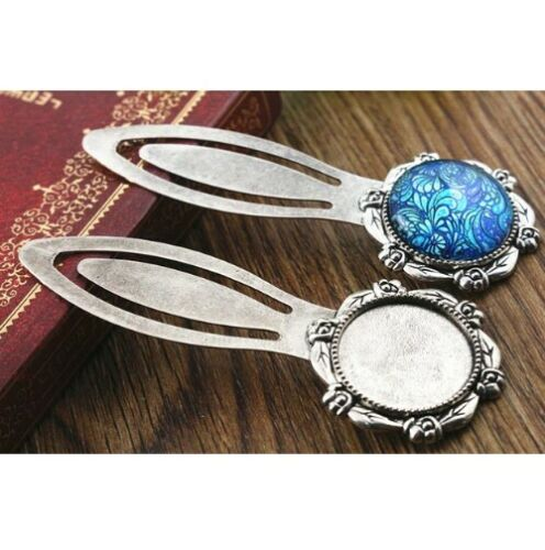 2 X  silver toned Flower patterned cabochon bookmark blank Fits 20mm glass