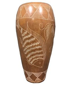 African Vase Etched. Soapstone Design With Fish, Plants.  Brown Finish