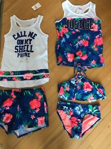 5892c7c869 Justice Call Me On My Shell Phone Two Tank Tops Floral Shorts 2 ...