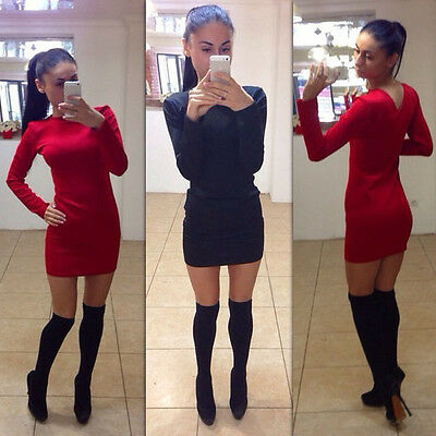 Women Ladies Casual Long Sleeve Bodycon Cocktail Evening Party Short Mini Dress