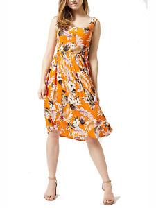 Nuevo-Dorothy-Perkins-talla-6-8-10-12-14-18-20-Naranja-Vestido-Estampado-Floral-Cami-b9