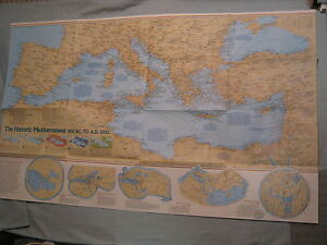 Details About The Historic Mediterranean The Seafloor Map National Geographic December 1982