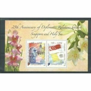 Singapore-2006-Vatican-City-Holy-see-Joint-Issue-Orchids-Flag-Miniature-sheet