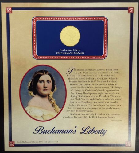 (2010) Buchanan's Liberty bronze medal, 24 kt gold electroplated!