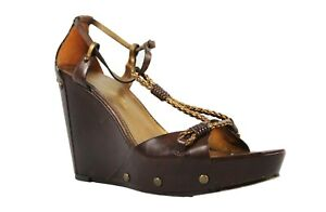 Womens-Vince-Camuto-Imagine-Wedges-Size-8-Brown-with-Bronze-Accents-Leather