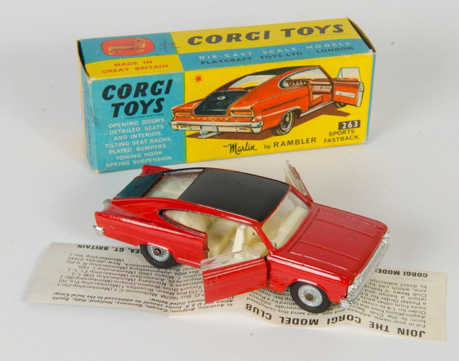 Corgi 263 Marlin por Rambler Deportes Fastback. rosso nero. vnmint Caja. década De 1960