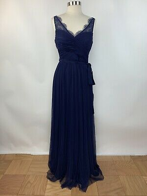 Anthropologie BHLDN Hitherto Fleur Size 10 Blue V Neck Formal Cocktail Dress