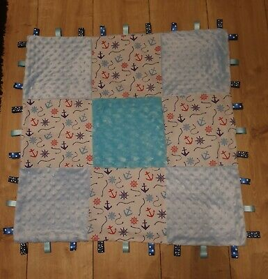 DUMBO PINK BLUE LARGE DIMPLE PATCHWORK BABY TAGGY BLANKET COMFORT COMFORTER GIFT