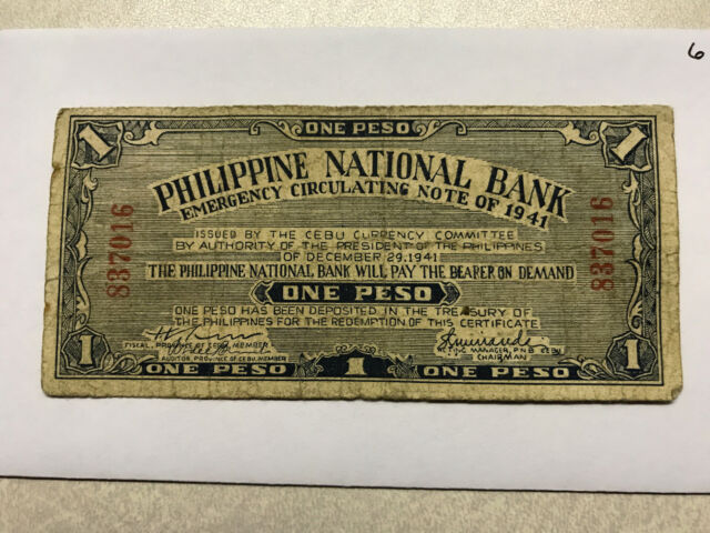 1941 PHILIPPINES 1 PESO EMERGENCY CIRCULATING NOTE GOOD #6549