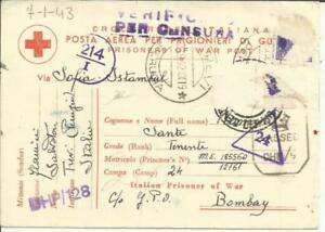 Italy PRISONER OF WAR-RED CROSS Postcard-STAMPS REMOVED by CENSO