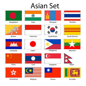 asia 3x5 flag set of 20 country lightweight polyester asian flags
