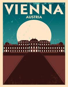 VIENNA AUSTRIA LARGE METAL TIN SIGN POSTER WALL PLAQUE