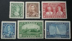 Canada #211-216, MNH OG Set Of 6, 1935 KGV Jubilee Issue