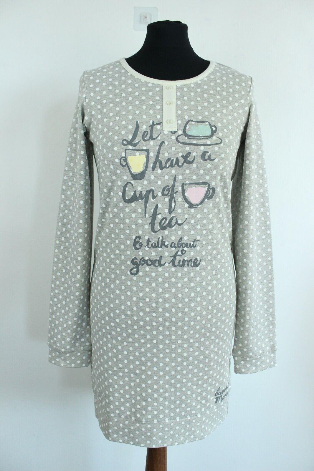 BANANA MOON BNWT Grey Polka Dots Long Sleeve Women Nightwear Top Size S