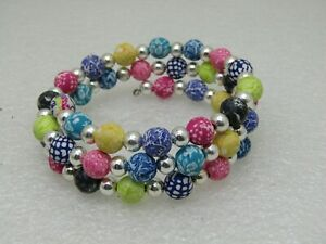 Multi-Colored-Coiled-Memory-Bracelet-Boho-Hippie-Pink-Yellow-Purple-Blue
