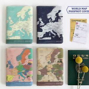 1x world map passport holder cover travel wallet card case vintage image is loading 1x world map passport holder cover travel wallet gumiabroncs Choice Image