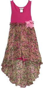 f44c490318b3 Big Girls Tween 7-16 Pink Knit-n-Printed Chiffon High Low Maxi Dress ...