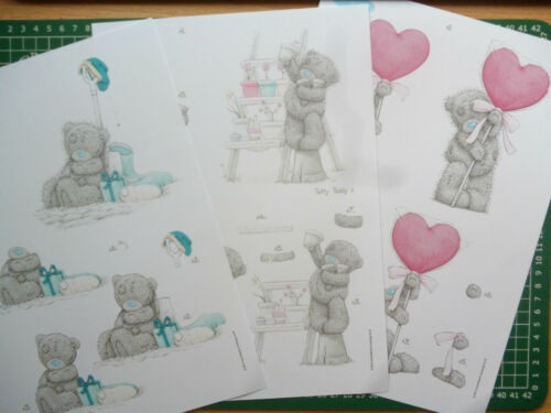 A4 3 sheets tatty teddy decoupage-all different-11 packs to choose