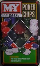 Home Casino Poker Chip Set (100 Dual Toned Chips, Dealer Button, Instructions)