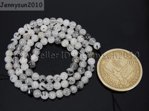 Natural Tourmalinated Quartz Gemstone Round Beads 15/'/' 4mm 6mm 8mm 10mm 12mm