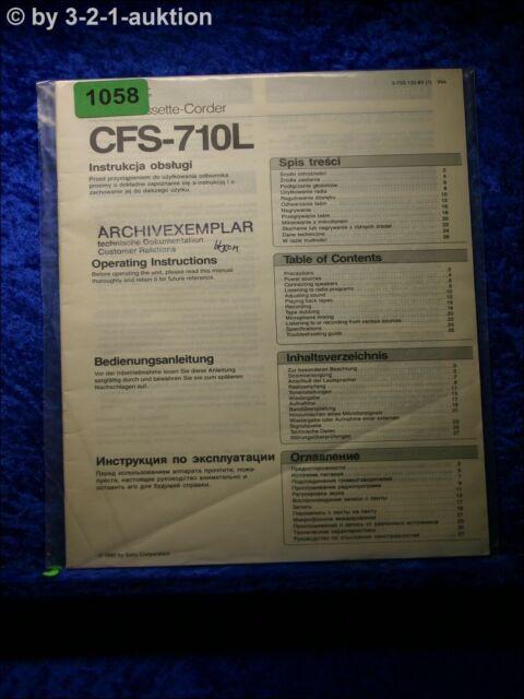 Sony Manual Cfs 24007 9oz Cassette Corder  1058