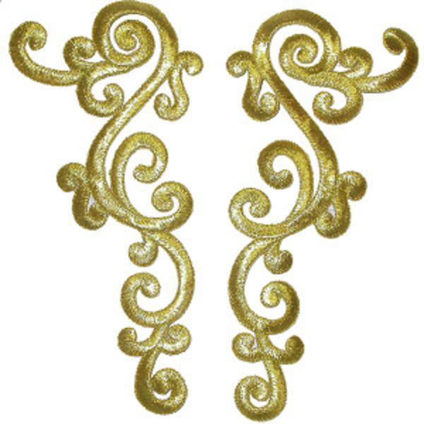 Large Decorative Metallic Gold Left & Right Pair Iron On Appliques