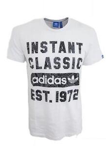 Neu-Herren-Adidas-Originals-Instant-Classic-Logo-T-Shirt-Top-Weiss