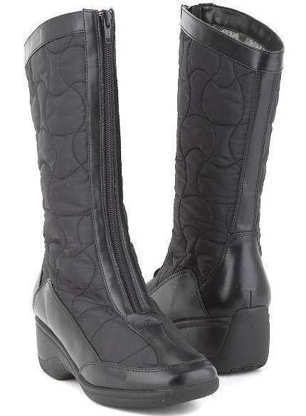 New blanc Mountain Femmes Noir Mi-Mollet front zip talon compensé fourrure Botte Chaussure Sz 10 m