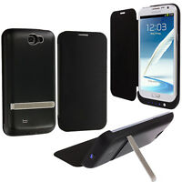 For Samsung Galaxy Note 2 II External Extended Battery Case Flip Cover Black