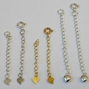 EXTENDER-EXTENSION-chain-Heart-925-sterling-silver-Gold-plated-Clasp-40-to-73mm
