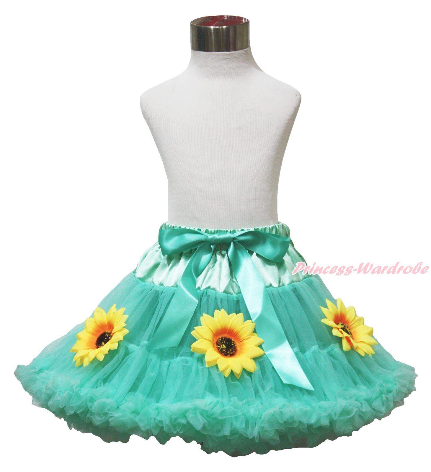 Aqua bluee Adult Woman Girl Princess Anna Summer Sunflower Full Pettiskirt Tutu