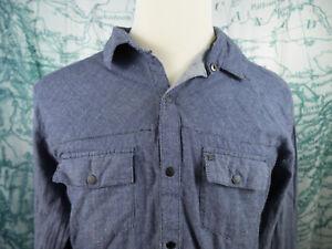KR3W Young Men's Button Front Shirt - Button Snap Blue Soft Cotton Sz XL - Z158z