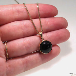 14K-Solid-YELLOW-GOLD-Round-12-mm-BLACK-ONYX-Pendant-HANDMADE-JEWELRY