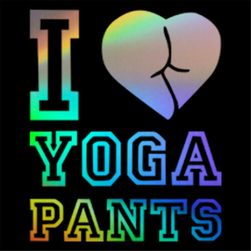 2PCS I Love Yoga Pants Vinyl Decal Car Window Laptop REMOVABLE Wall Stickers