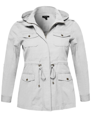 FashionOutfit Women/'s Casual Adjustable Sleeve Anorak Detachable Hoodie Jacket