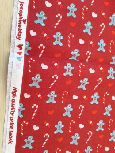 Nuevo 100/% algodón-Josephine Bray Amor Navidad trata de diseño en rojo profundo