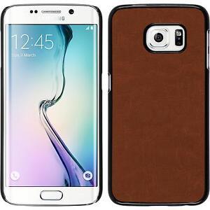 Hardcase für Samsung Galaxy S6 Edge Hülle braun Lederoptik + flexible Folie