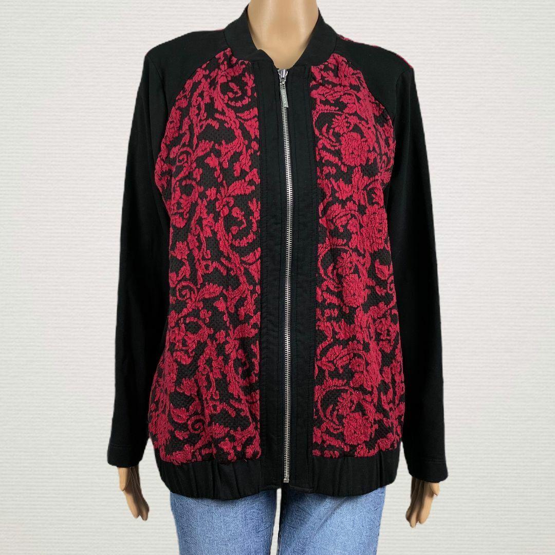 Susan Graver Jacquard Knit Zip Front Bomber Jacket LARGE Red Black Stretchy