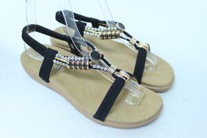 Women's Black Rhinestone Pendant Sandals Party Shoes Sz 5 6 7 8 9 10 11