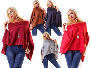 Maglione-donna-Pullover-Poncho-Optics-manica-lunga-collo-ad-anello-ampio-nuovo