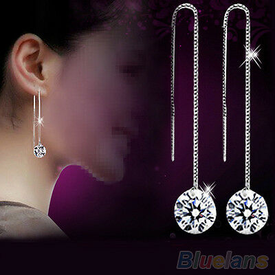 Women's New Stylish Zircon Topaz Silver Plated Decor Drop Dangle Chain Earrings