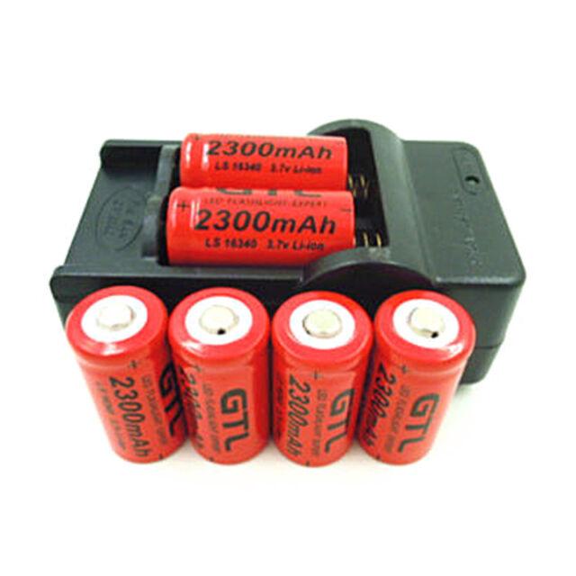 Rechargeable 3.7V 2300mAh Li-ion GTL RCR123A CR123A 16340 Batteries & Charger