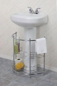 Image Is Loading Under Pedestal Sink Storage Organizer Shelf 2 Tier